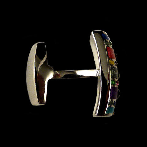 WD London Multicoloured Enamel & Crystal Stripe Cufflinks