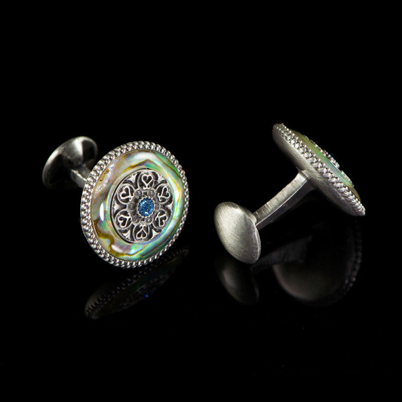 WD London Round Natural Abalone Shell Cufflinks back
