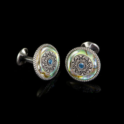 WD London Round Natural Abalone Shell Cufflinks