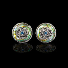 WD London Round Natural Abalone Shell Cufflinks front