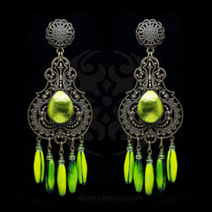 Jean-Louis Blin Huge Art Nouveau Bronze & Lime Green Chandelier Clip-on Earrings (JLB7065)