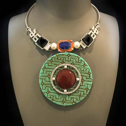 Philippe Ferrandis 'Orient Express' Turquoise Amulet Necklace (ORE 22/2)