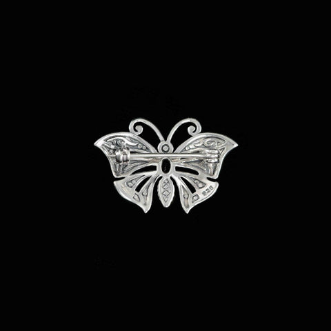 Luke Stockley Silver Marcasite & Garnet Miniature Butterfly Brooch (HB489-GN)