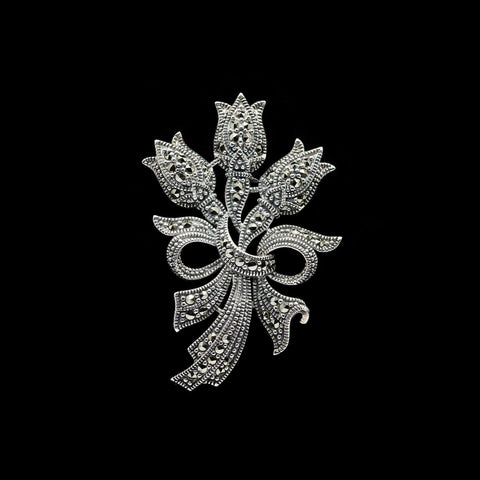 Jonathan Lynne Sterling Silver and Marcasite Floral Bouquet  Brooch ( HB210)