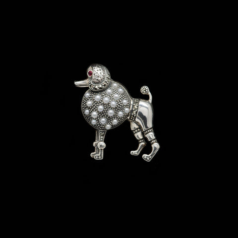 Jonathan Lynn Marcasite Perfect Pearl Poodle Brooch (PCBR022)