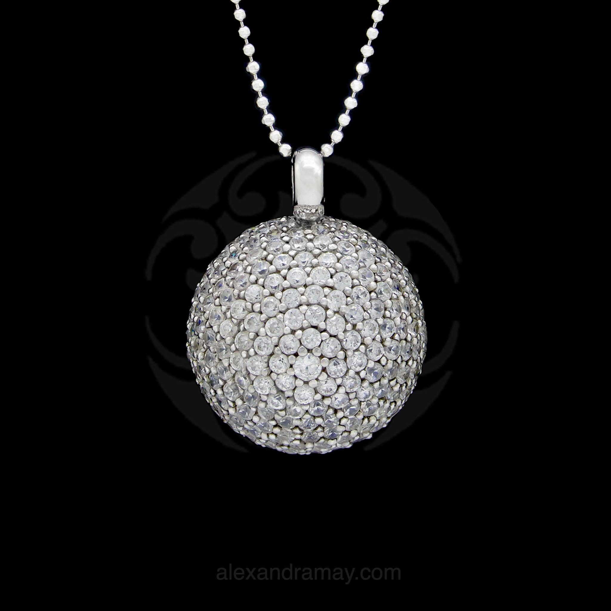 Cavendish French Large CZ Half Sphere Pendant Necklace (CFCZ1)