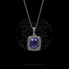 Jonathan Lynne Sterling Silver Amethyst & Marcasite Pendant (PTW022)