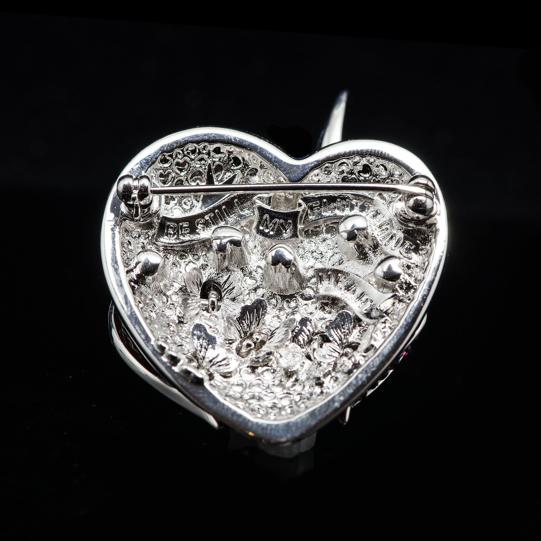 Simon Harrison Fabulous Flaming Heart Enamel Brooch