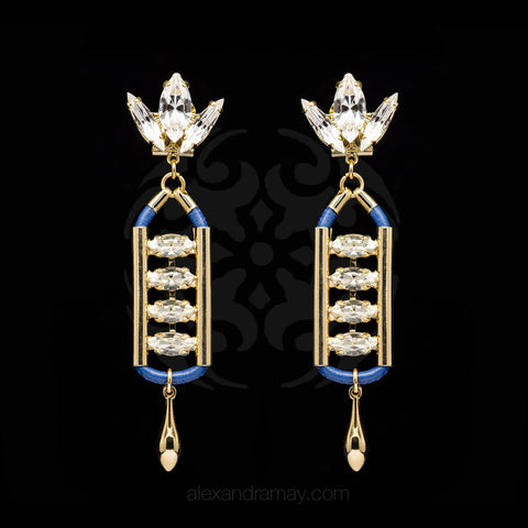 Anton Heunis 'Opulent Minimalism' Blue Leather Crystal Earrings (ARC310)
