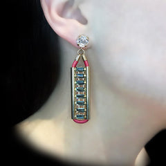 Anton Heunis 'Opulent Minimalism' Red Leather Crystal Earrings (ARC307)