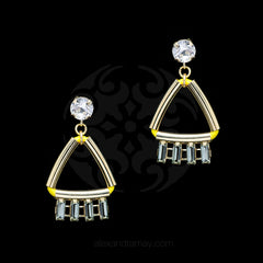 Anton Heunis 'Opulent Minimalism' Yellow Leather Crystal Earrings (ARC306Y)