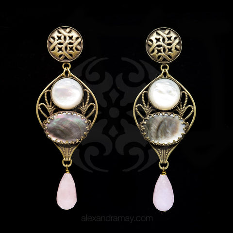 Jean-Louis Blin Mother-of-Pearl & Abalone Shell Bronze Clip-on Earrings (JLB7071)