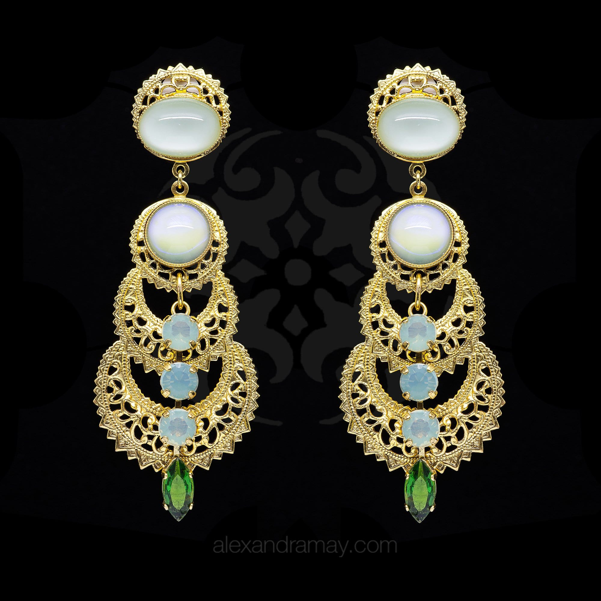 yellow multipearl earrings vintage gold jewelry fine indian