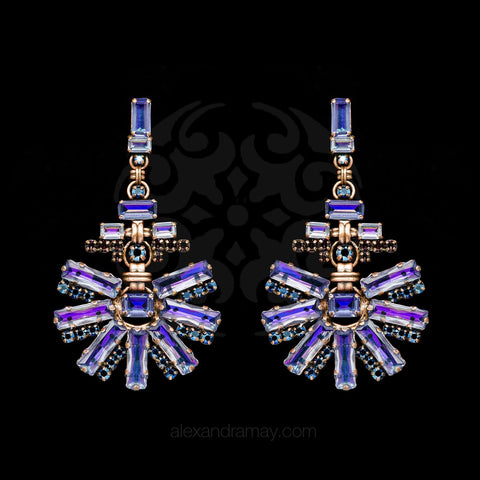 Konplott 'Aztec' Large Purple Crystal Statement Earrings (350356)
