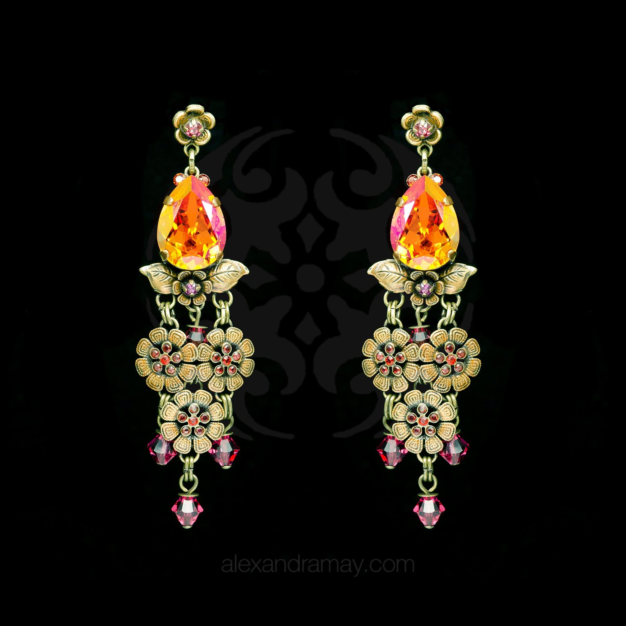 Konplott 'Eternal Glory' Orange & Pink Chandelier Earrings (179940)