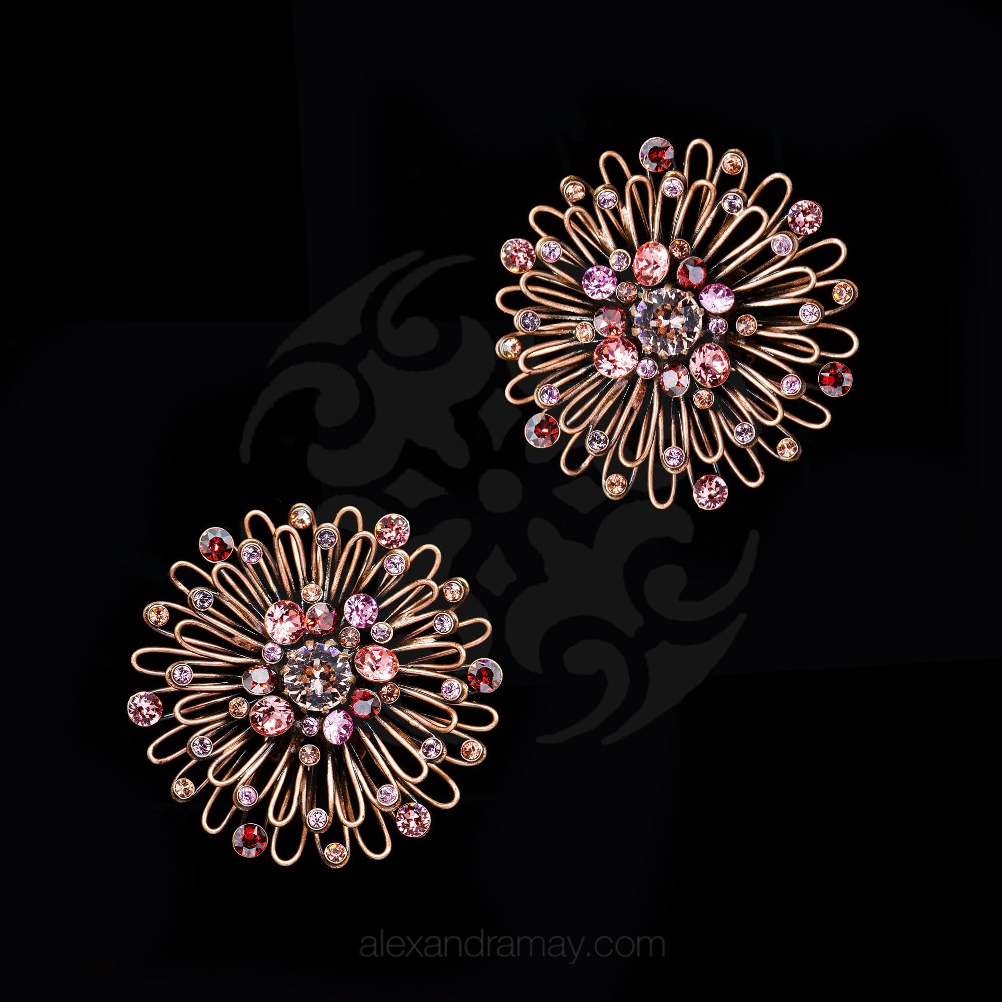 Konplott 'Distel' Rose Pink Swarovski Clip-on Earrings (331669)