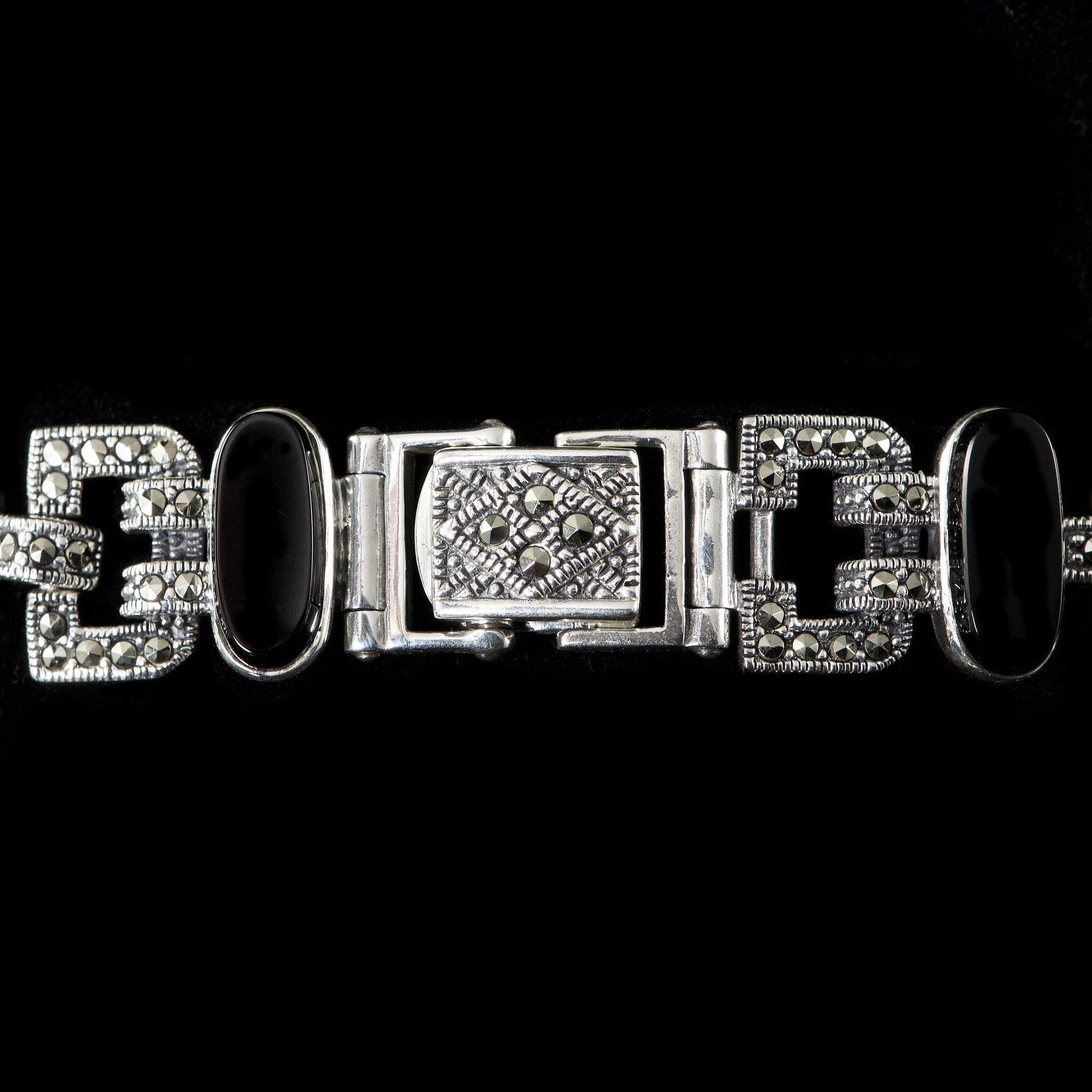Luke Stockley Marcasite Black Onyx Ellipse Link Bracelet (BR550-O)