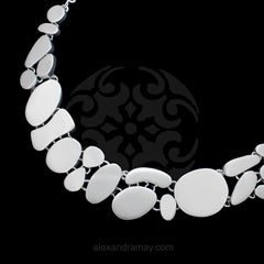 Cavendish French Sterling Silver Flat Pebble Necklace Collar (CF6441)