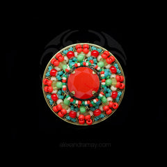 Konplott 'Dream Catcher' Round Red beaded Statement Ring (122448)