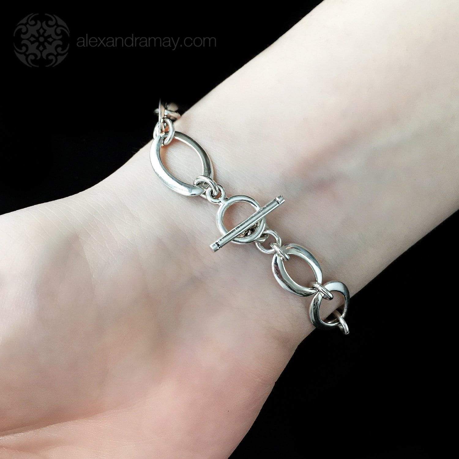 Cavendish French Sterling Silver Elliptical Link Bracelet (CF2829)