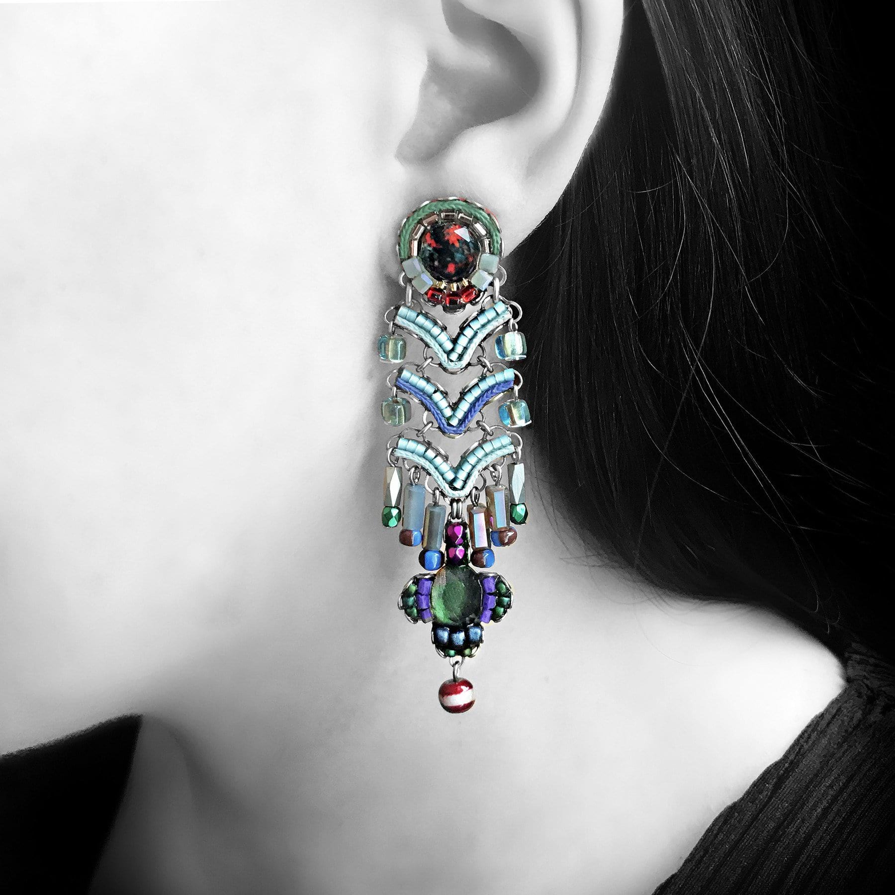 Ayala Bar 'Classic' Ice Blue, Red Purple & Green Earrings (AB1241)