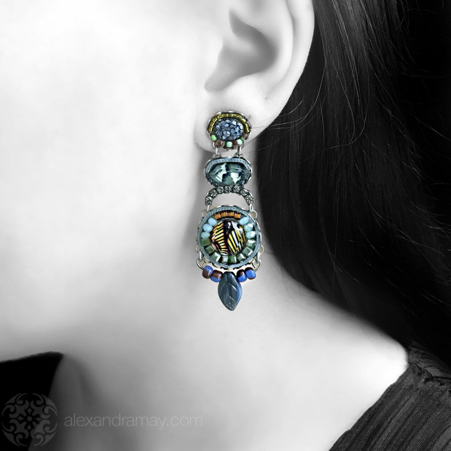Ayala Bar 'Classic' Teal Lilac and Gold, African Leaf Earrings (AB1249)