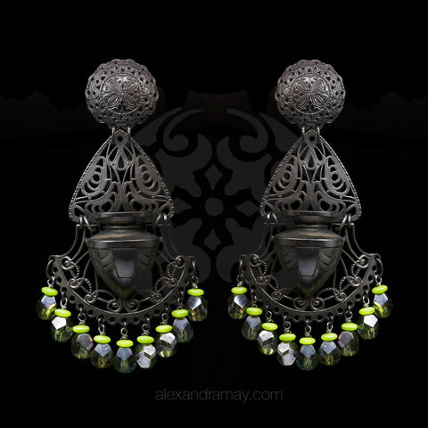 Jean-Louis Blin Extra Large Black Fretwork Art Nouveau Vase Clip-on Earrings (JLB5838)