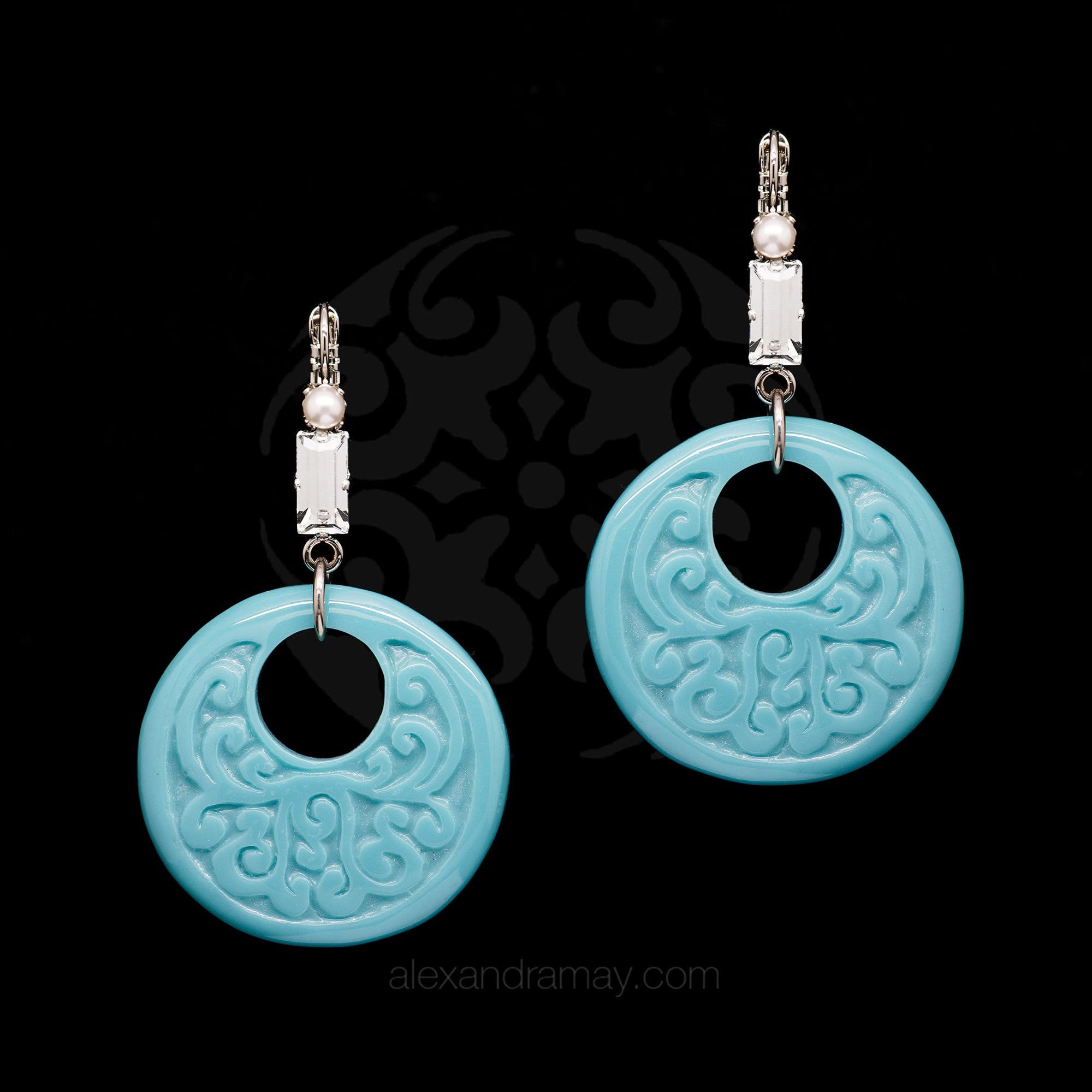 Philippe Ferrandis 'Orient Express' Turquoise Hoop Earrings (ORE 103/2)