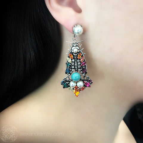 Anton Heunis 'Gypsy Queen' Silver Drop Crystal & Pearl Large Insect Earrings (GPQ3.23)