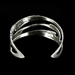 Sterling Silver Art Nouveux Kissing Cranes Cuff - back