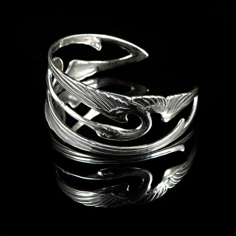 Sterling Silver Art Nouveux Kissing Cranes Cuff - side