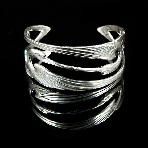 Sterling Silver Art Nouveux Kissing Cranes Cuff - main