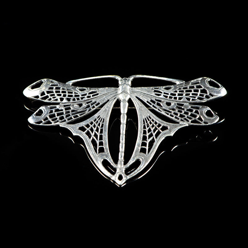 Sterling Silver Art Nouveux Giant Dragonfly Brooch - main