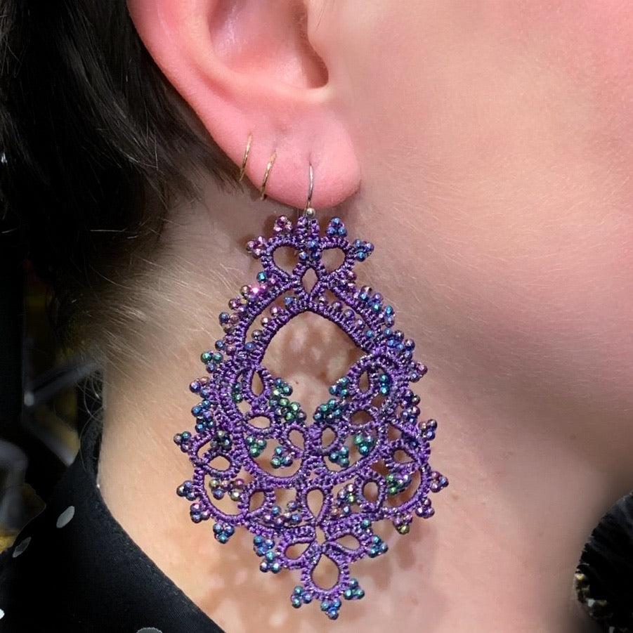 Contessina Purple & Peacock Petrol Crystal Bead Earrings (CON004)