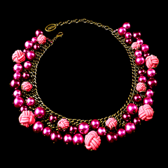 Konplott 'Bubble Pearls' Fuchsia Pearl & Knot Necklace (807326) Front
