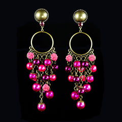 Konplott 'Bubble Pearls' Fuchsia Pink Large Clip-on Earrings (831093)