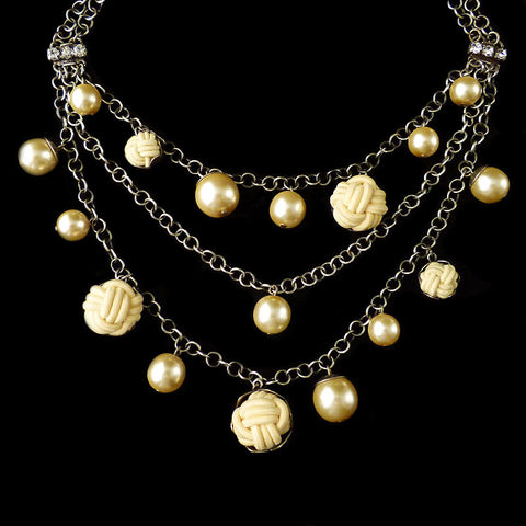 Konplott 'Bubble Pearls' Triple Chain Necklace (Cream) Front