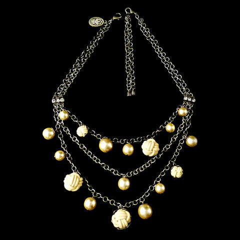 Konplott 'Bubble Pearls' Triple Chain Necklace (Cream) Full