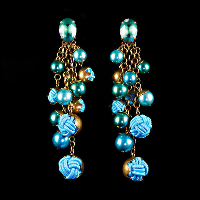 Konplott 'Bubble Pearls' Turquoise Clip-on Earrings (807104)