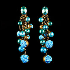 Konplott 'Bubble Pearls' Turquoise Clip-on Earrings (807104) Front
