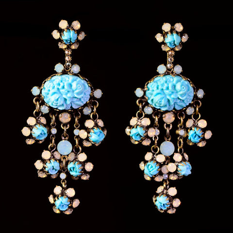 Konplott 'Victoria' Turquoise Resin & Opaline Pierced Dangly Earrings (981934)