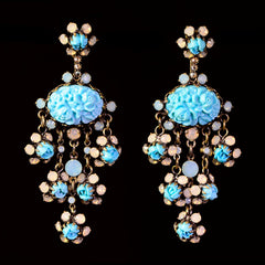 Konplott 'Victoria' Turquoise Resin & Opaline Pierced Dangly Earrings (981934) Front