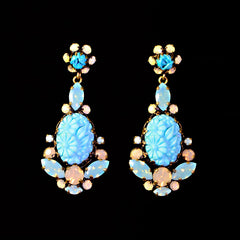 Konplott 'Victoria' Turquoise Resin & Opaline Pierced Earrings (981811) Front