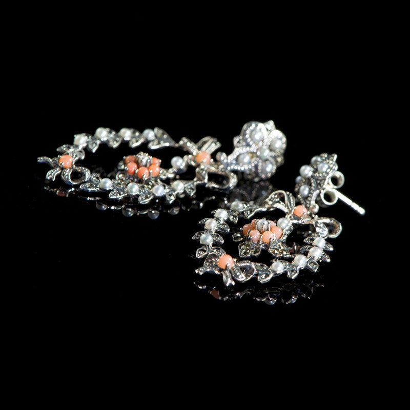 Jonathan Lynne Sterling Silver & Marcasite Coral Rococco Earrings (UVEPL2)
