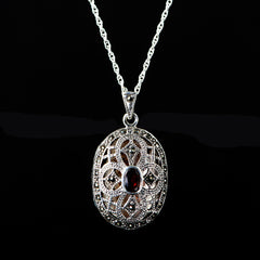 Sterling Silver & Marcasite Garnet Oval Locket - main