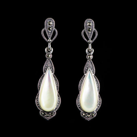 Luke Stockley Marcasite Mother of Pearl Classical Teardrop Earrings (HE175MOP)