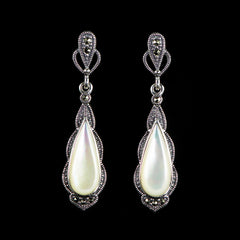 Sterling Silver & Marcasite Mother of Pearl Classical Tear Drop Earrings - main