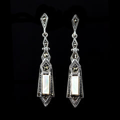 Sterling Silver & Marcasite Long Slim Mother of Pearl Earrings - main