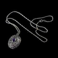 Sterling Silver & Marcasite Amethyst Oval Locket - main