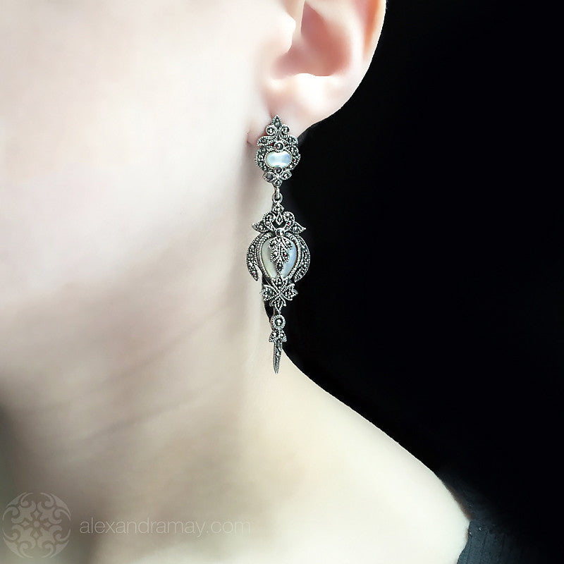 Luke Stockley Marcasite Mother of Pearl Rococo Style Earrings (EM586MOP) model